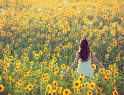 Žena v slnečnicovom poli