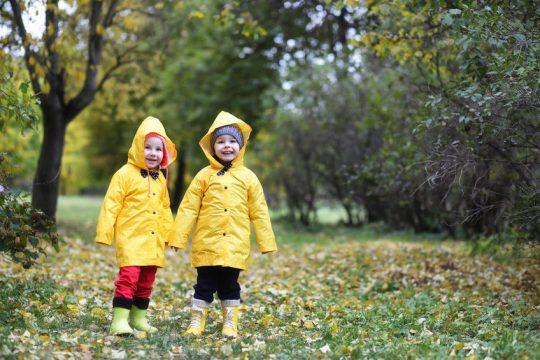 Deti v parku za chladného počasia