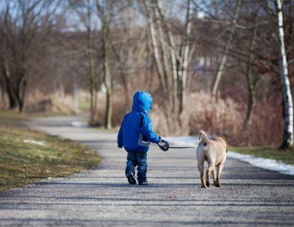 Malý chlapec venčí svojho psa
