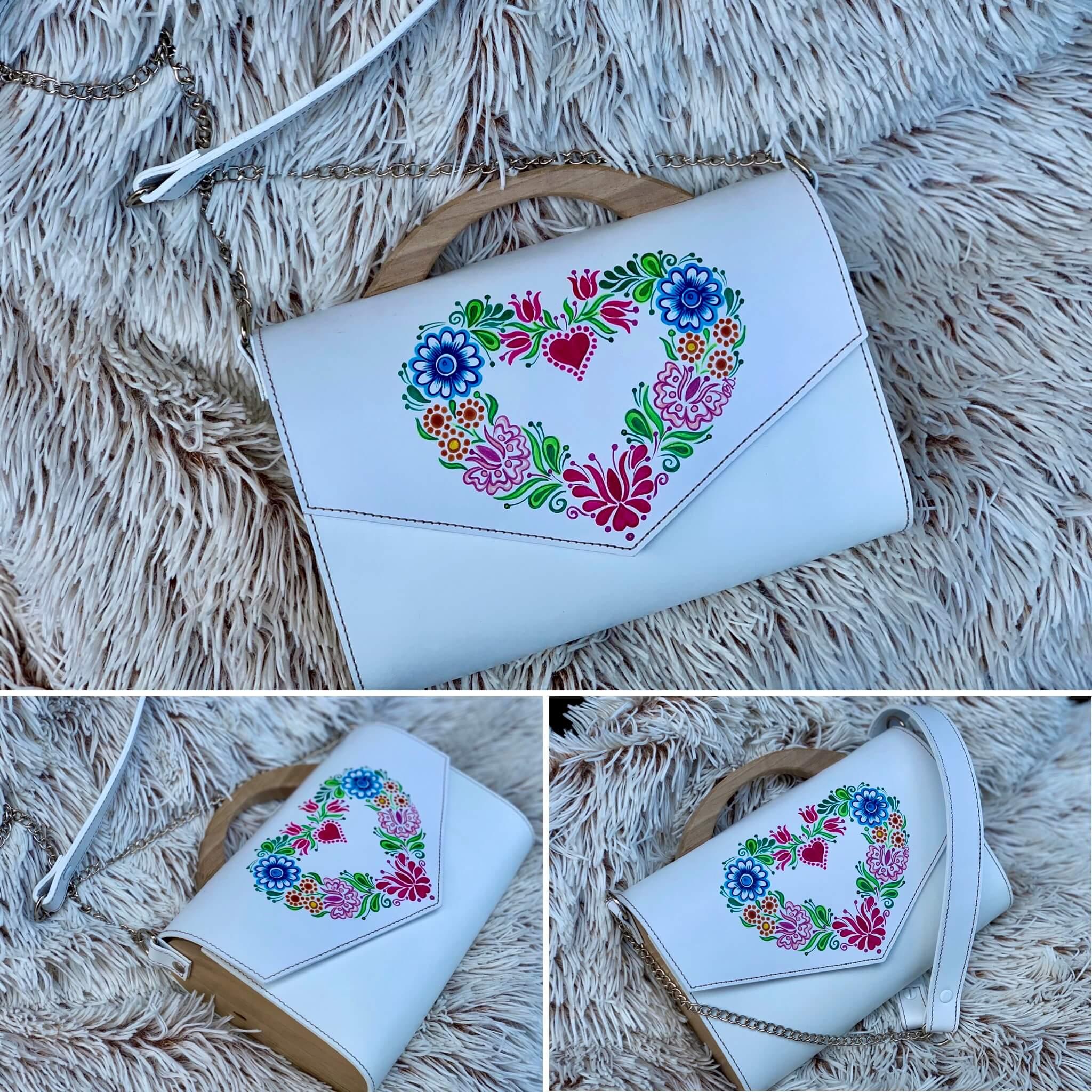 Biela kabelka s ručne maľovaným motívom – Danni Design
